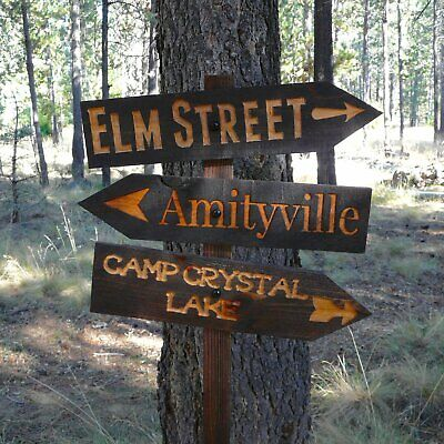 Halloween Lawn Ornament Directional Sign - Amityville Camp Crystal Lake - Carved - Halloween Lawn Signs