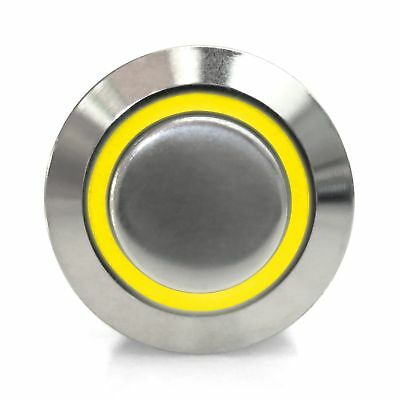NEW 22mm Momentary Billet Switch Button LED Yellow Ring Keep It Clean Autoloc