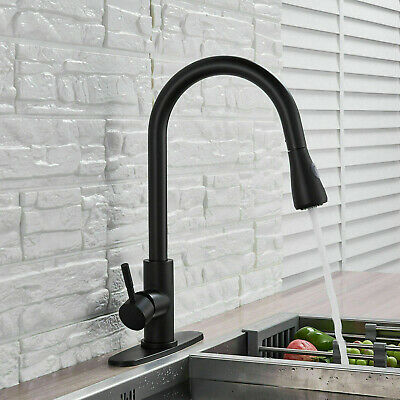Stainless Steel Single Handle Kitchen Sink Faucet Pull Out Sprayer Faucets Cover