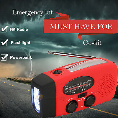 Emergency Solar Hand Crank Dynamo Am Fm Noaa Weather Radio Led Flashlight Charge
