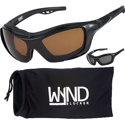 329 Glasses - POLARIZED Black Motorcycle Sunglasses Convertible Goggle Glasses by WYND Blocker