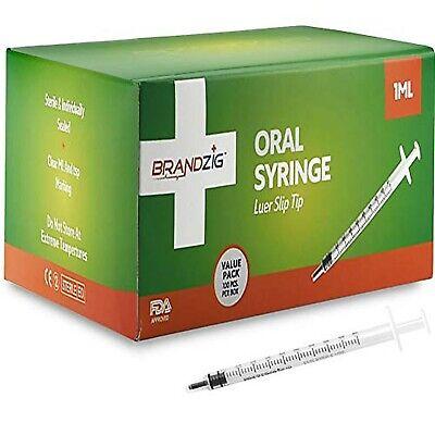1ml Syringe - 100 Pack – Luer Slip Tip, No Needle, FDA Approved, Sterile Indi...