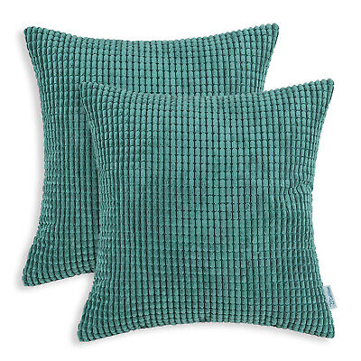 2Pcs Teal Cozy Throw Pillows Covers Shells Corn Soft Corduroy Striped Car 22x22""