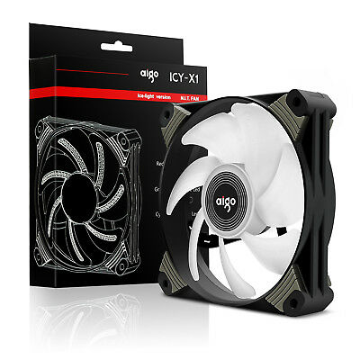 Aigo 120mm Icy Neon WHITE LED Computer PC Cooler Case CPU Radiator Cooling Fan