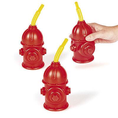 8 Fire Hydrant Drink Cups w/ Straws Fire Depart FIREMAN FIREMEN PARTY - Firefighter Party Favors