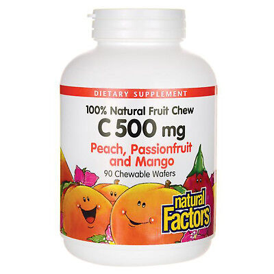 - Natural Factors Vitamin C 500mg, 100% Natural Fruit Chews, 90 Chewable Wafers