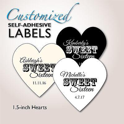 SWEET SIXTEEN Heart Stickers, Sweet 16 Favor Labels, Candy Buffet Bag, Seals - Sweet 16 Candy Buffet