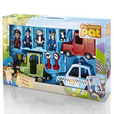 Postman Pat 3 Vehicle Playset Bundle Set Inc Figure Post Van Police Car Train