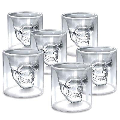 nkopf Skull Shot Schnappsgläser 25ml 2,5 cl Whiskey Vodka (Totenkopf Shot Glas)