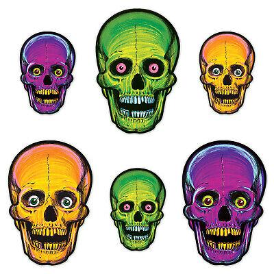 Vintage Halloween 6/pkg NITE-GLO SKULLS Glow in the Dark Cutouts Beistle](Halloween 6 The)