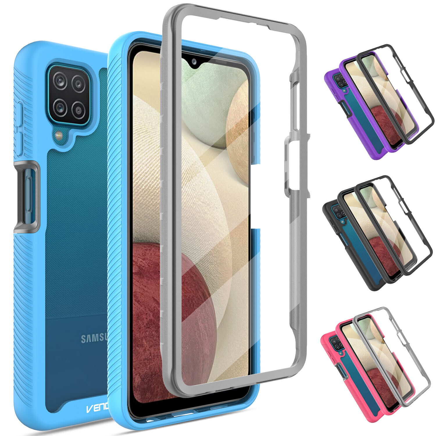 For Samsung Galaxy A12 Clear Case Hybrid Cover With Built-in Screen Protector Cases, Covers & Skins
