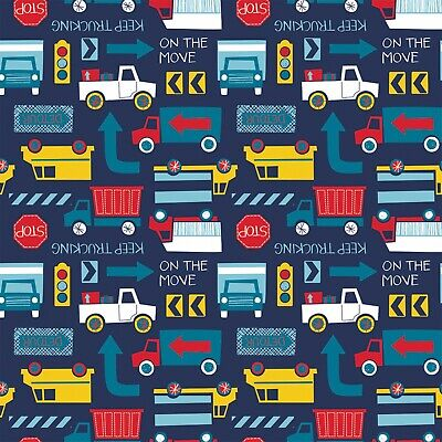 Fabric Trucks and Construction Equipment on Blue Camelot Flannel 1/4 Yard