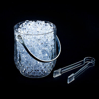 Clear Plastic Ice Bucket Bar Tong Container Wine Chiller Cool Bar Kitchen