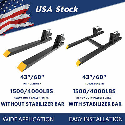 1500lb4000lb Tractor Pallet Forks Bucket Clamp On 4360 For Skid Steer Loader
