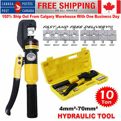 10 Ton Hydraulic Crimper Crimping Tool Dies Wire Battery Cable Hose Lug Terminal