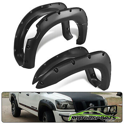 For 2004-2014 Nissan Titan w/o Bedside Lockbox Black Front+Rear Fender Flares ()