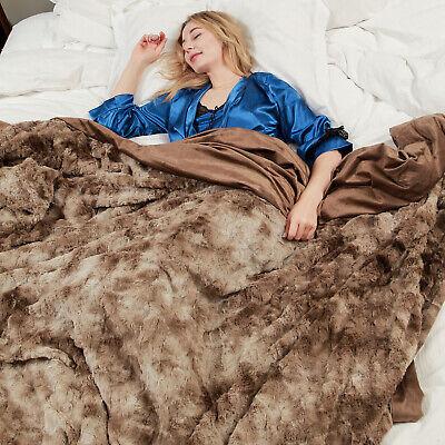 Faux Fur Bed Blanket Soft Cozy Warm Fluffy Variation Print Minky Fleece Throw