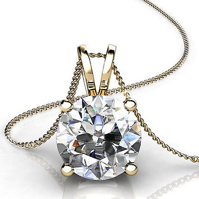 """3.0 Ct Round Cut 14K Yellow Gold Solitaire Pendant Necklace Box With 18"""" Chain"""