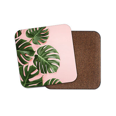 Palm Tree Leaves Coaster - Leaf Pink Tropical Mum Sister Auntie Fun Gift #14338 ()