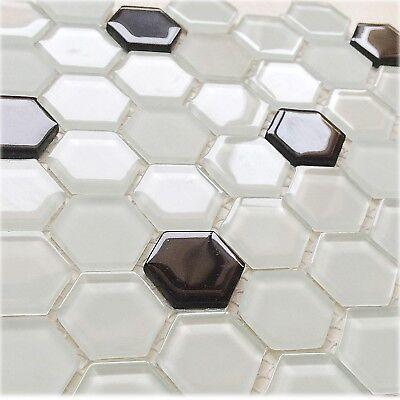 - Glass Hexagon Ice White & Black Mosaic Wall Tile Kitchen Bath Shower Backsplash