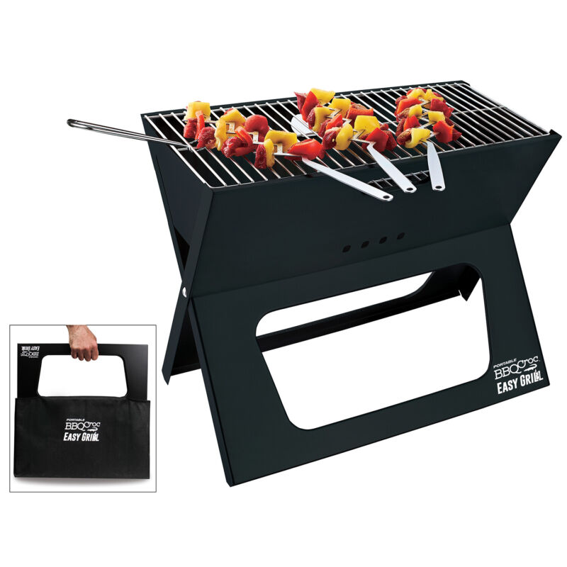 BBQCroc Compacting Portable 19 Inch Steel Barbecue Cooking Grill with Travel Bag
