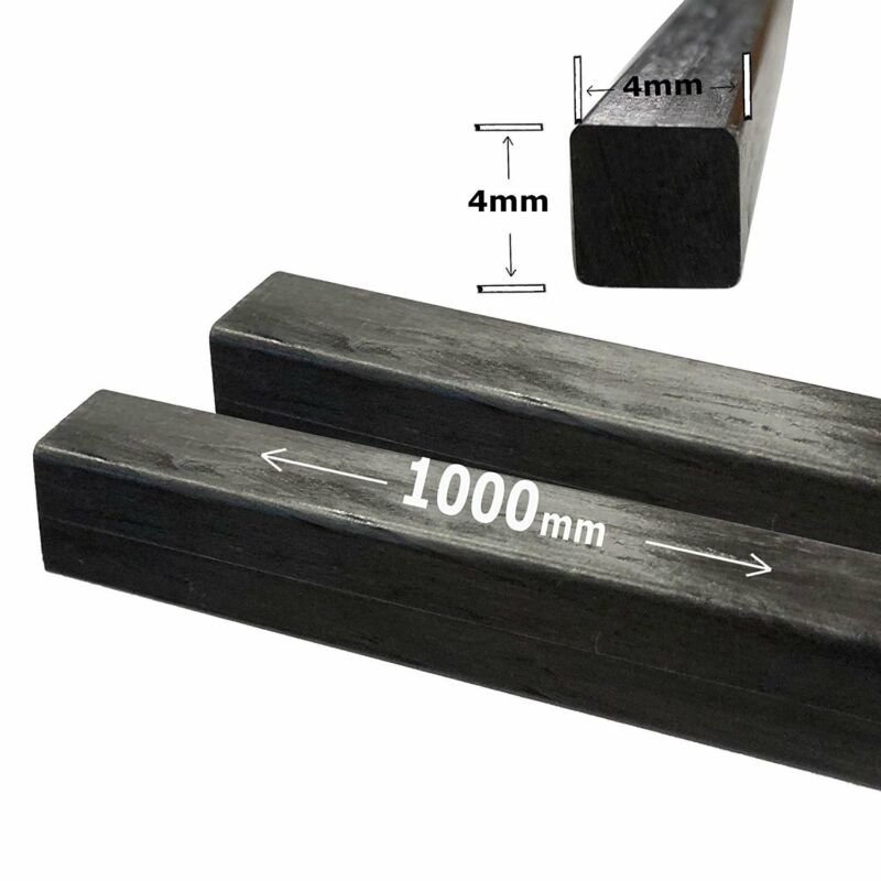 (2) 4mm X 1000mm - PULTRUDED-Square Carbon Fiber Rods. 100% Pultruded high...