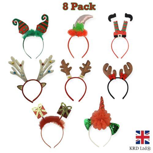 8pk+CHRISTMAS+HEADBOPPER+Kids+Adult+Headband+Bopper+Fancy+Dress+Elf+Antlers+UK