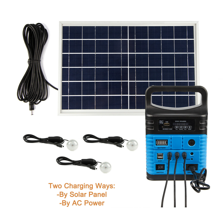 Solar Panels Lighting Kit 10W Portable Power Generator USB C