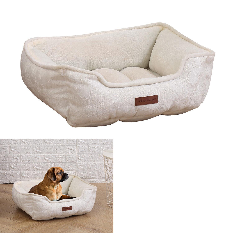 Jacquard Dog Pet Bed Orthopedic Cuddler Microfiber High Bolster Washable, Ivory Beds