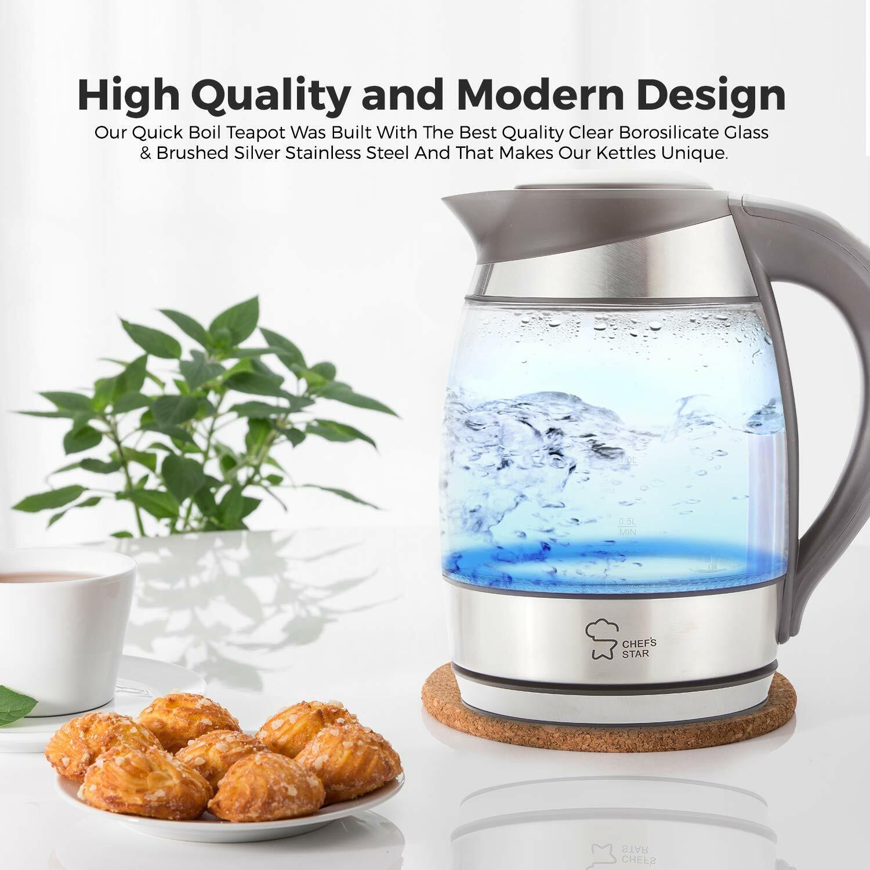 Kitchen Electric Glass Kettle 1.7 Liter Hot Water Tea Coffee