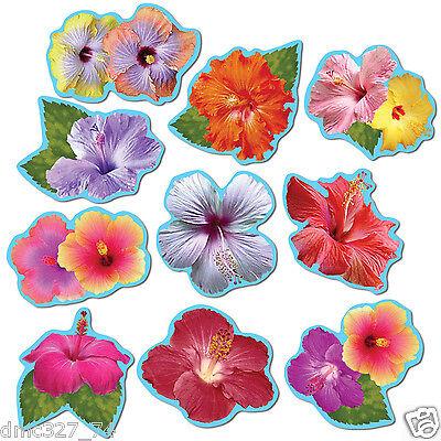 10 LUAU Tiki Party Decorations Die Cut Mini Tropical HIBISCUS Flower CUTOUTS - Luau Cut Outs
