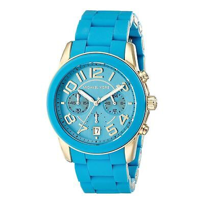 Michael Kors Mercer Blue Turquoise Steel Chronograph Quartz Ladies Watch MK5891