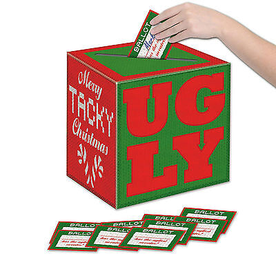 Ugly Sweater Ballot (11 piece Set CHRISTMAS Holiday Party UGLY SWEATER Voting Box with)