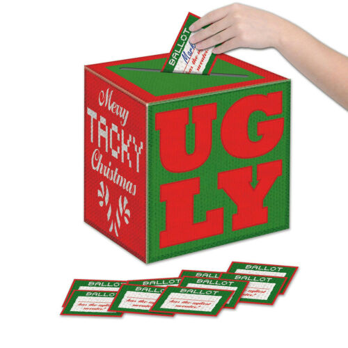11 Piece Set Christmas Holiday Party Ugly Sweater Voting Box With Ballots