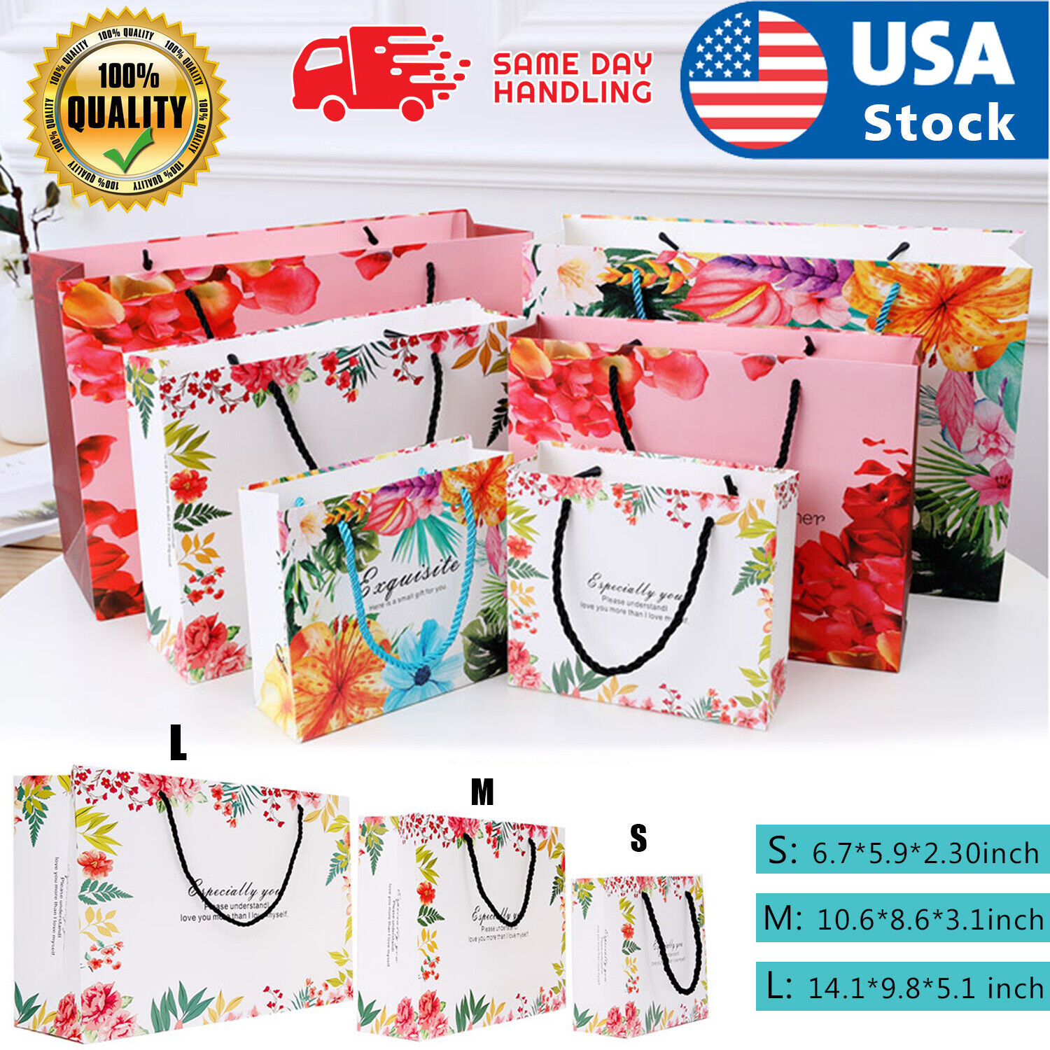USA 10Pcs Gift Bags Paper Wedding Party Candy Loot Bags with Nylon Handles S/M/L Greeting Cards & Party Supply