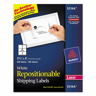 Avery Repositionable Shipping Labels Inkjetlaser 3 13 X 4 White 600box 55164