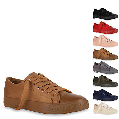 896054 Damen Sneaker Low Basic Canvas Turnschuhe Schnürer Freizeit Schuhe Hot