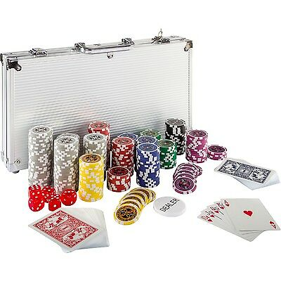 Pokerkoffer Pokerset Poker Set Laser Pokerchips 300 Chips Alu Koffer Jetons
