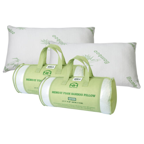 2 Pack Bamboo Memory Foam King Size Bed Pillow Cool Hypoallergenic Luxury  USA