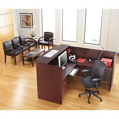 Single Pedestal Reversible L Shape Laminate Reception Desk in Mahogany Finish