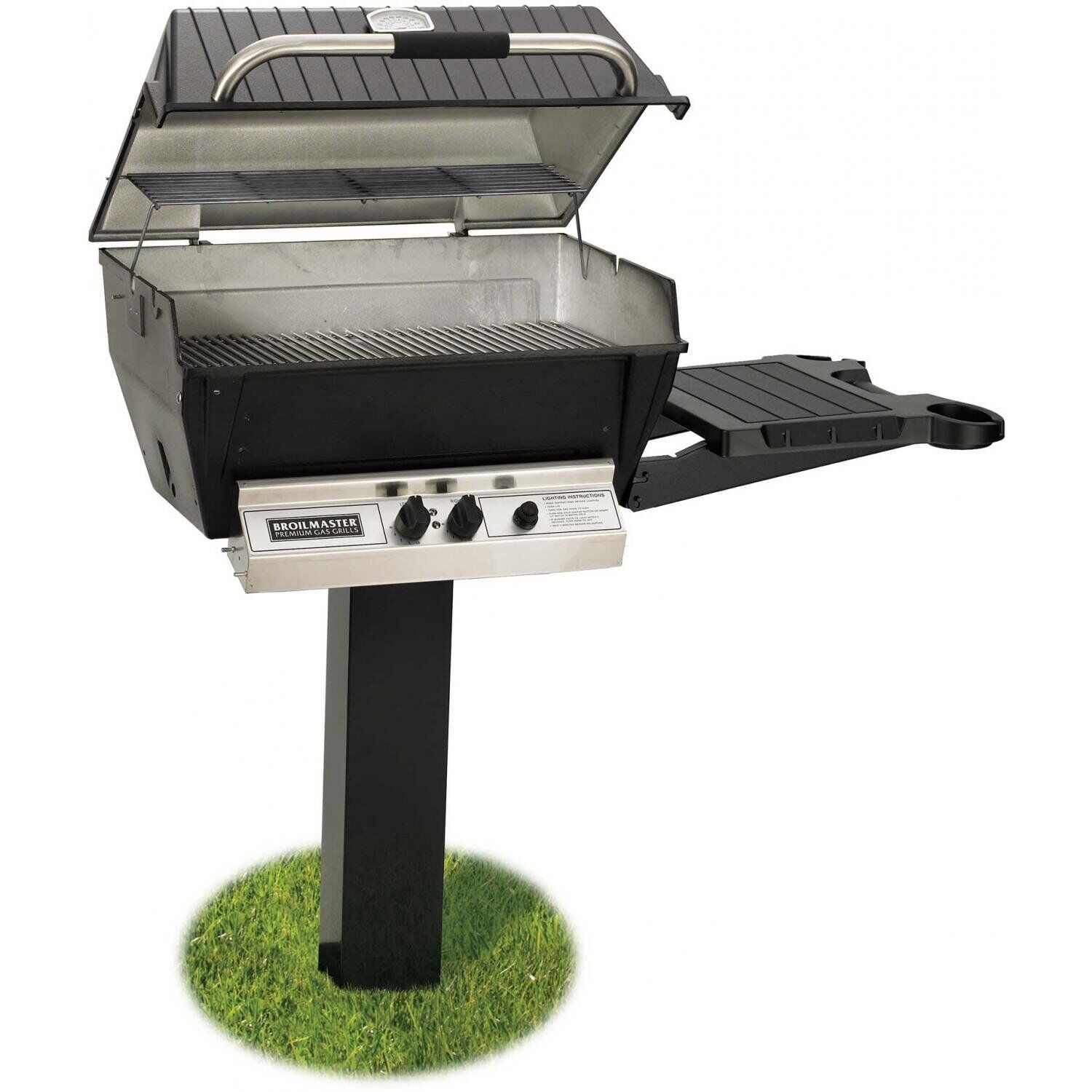 BROILMASTER DELUXE GAS GRILL PKG 2 W/INGROUND POST & SIDE SH