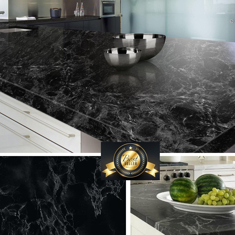Black Marble Granite Contact Paper Countertop Vinyl Self Adh