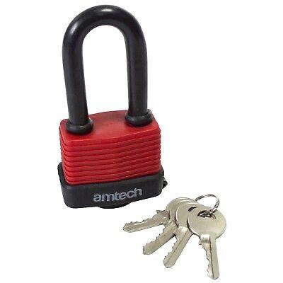 40mm Long Shackle Weatherproof Padlock - Lock 2 New Laminated Steel Key Amtech