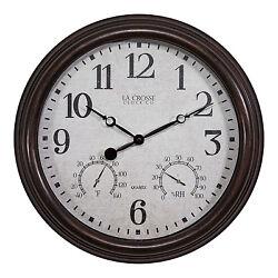 404-3015 La Crosse Clock Co. 15 Indoor/Outdoor Wall Clock with Temp/Humidity