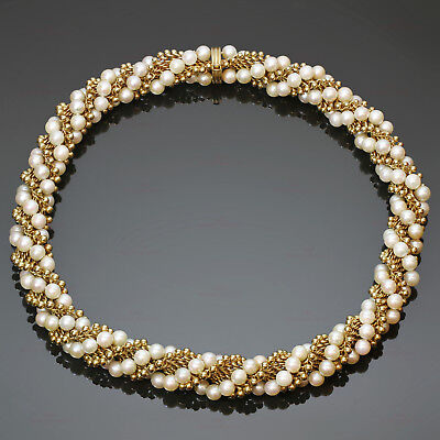 Authentic VAN CLEEF & ARPELS Twist Cultured Pearl 18k Yellow Gold Necklace