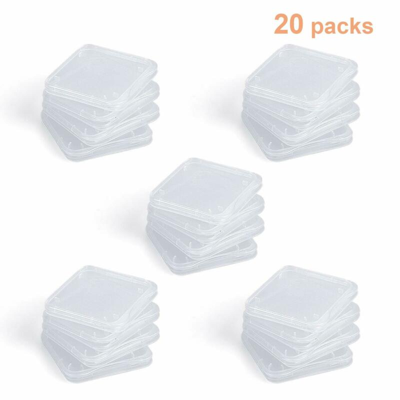 20PCS Clear Plastic Standard SD Card Case Holder Box Storage