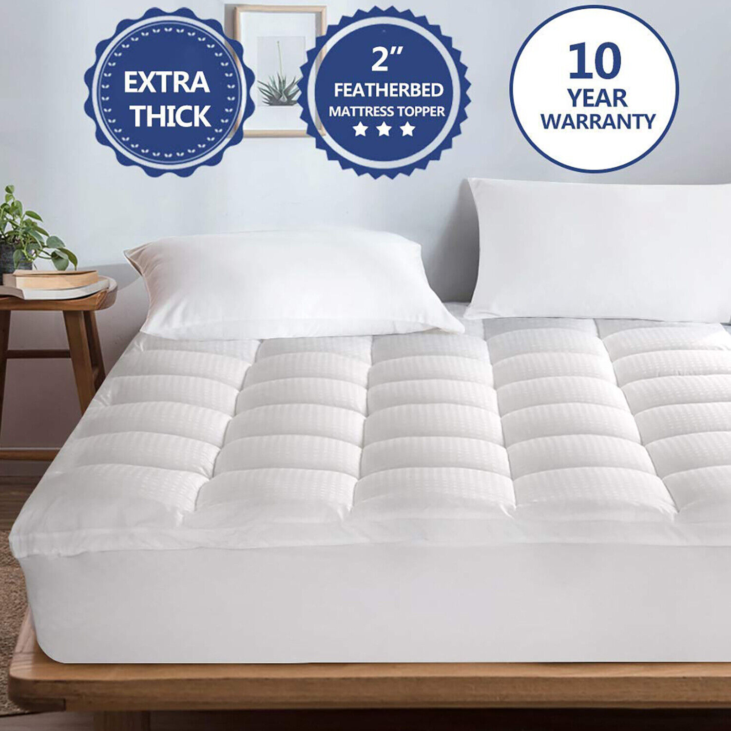 Extra Thick Matress Pad Pillow Top Cooling Fitted Mattress Topper Cotton Cover