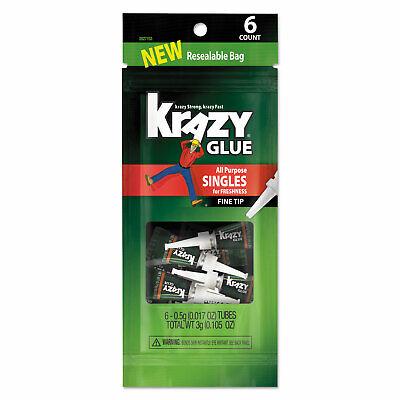 Krazy Glue All-purpose Super Glue Single-use Tubes 0.017 Oz Clear 6pk 2027153