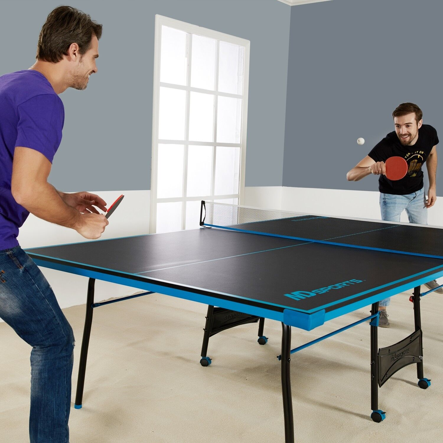 ping pong table tennis black blue official size sports. Black Bedroom Furniture Sets. Home Design Ideas