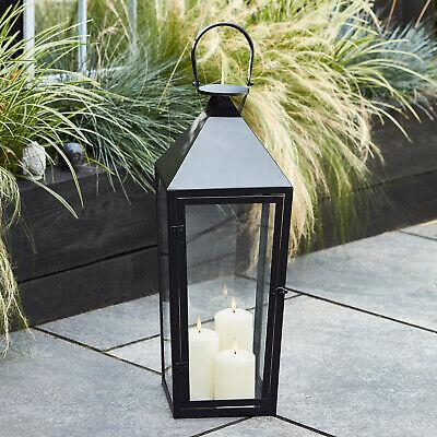 Outdoor Large Floor Lantern Black Metal 60cm TruGlow™ Candles Timer Lights4fun